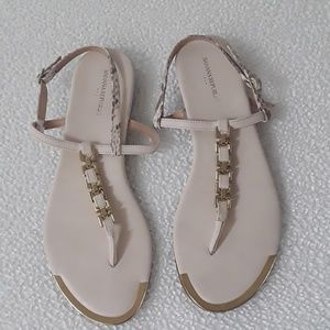 Banana Republic beige & animal print sandals